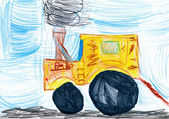 Yellow tractor. child's drawing — Stock Photo