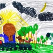 Dogs travel on train at night. child's drawing. — Stock Photo