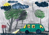 Dogs travel on auto at night. child's drawing. — Stock Photo