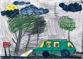 Los perros viajan en auto por la noche. dibujo de niño. — Foto de Stock