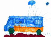 Dog travel on auto. child's drawing. — Stock Photo