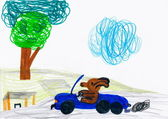 Dog driving a car. child's drawing. — Stock Photo