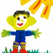 Happy monkey open arms on meadow. Child's watercolor paint.  — Stock Photo
