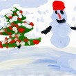 Stock Photo: Snowman with christmas tree. Child's drawing.
