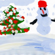 Snowman with christmas tree. Child's drawing. — Stock Photo #20007857