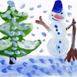 Snowman with christmas tree. Child's drawing. — Stock Photo