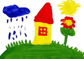 Home and meadow. Child's drawing. — Stock Photo