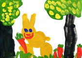 Rabbit with carrot. Child's drawing. — Stock Photo