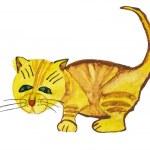 Rufous cat. Child's drawing — Stock Photo