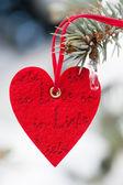 Herzen im schnee auf baum — Stockfoto