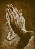 Twee handen in bid pose. tekening potlood. — Stockfoto