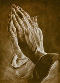 Two hands in pray pose. pencil drawing. — Stockfoto