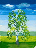Tree in the field. watercolor paint — Stock Photo