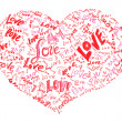 Heart drawn by pencil filled with love words — Stock Photo