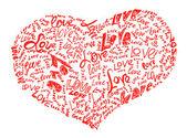 сердце, нарисованные карандашом, наполненный любовью слов — Стоковое фото