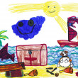Dog on pirate island. child's drawing. — Stock Photo #21719565