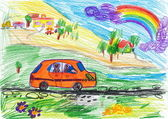 Dog travel on auto. child's drawing — Stock Photo