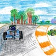 Sportcar racing. child's drawing — Stock Photo