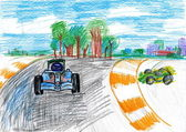 Sportcar racing. child's drawing — Stockfoto