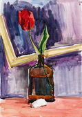 Still life with flower. gouache painting — Stock Photo