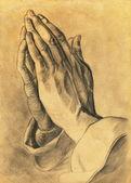 Dos manos en actitud de oración. dibujo a lápiz. — Foto de Stock