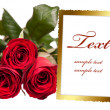 Empty photo frame with bouquet of roses — Stock Photo