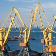 Stock Photo: Sea port and cranes