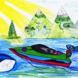 Boat at sea. child's drawing — Stock Photo