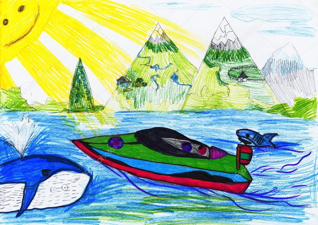 как рисовать лодку на море