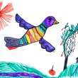 Stock Photo: Bird on meadow. child's drawing