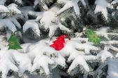 Hračky na vánoční stromeček na sněhu — Stock fotografie