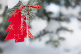 Toy fir tree on branches — Stock Photo