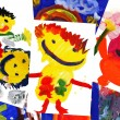 Stock Photo: Collage of children's drawings