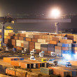 Containers in port at night — Stock Photo