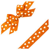 Orange bow with hearts and ribbon — Stock Photo