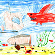 Underwater world. child's drawing. — Stock Photo