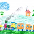 Stock Photo: Steam train goes to subway. child's drawing.
