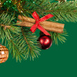 Christmas fir tree decoration on green — Stock Photo