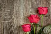 červené růže na dřevo — Stock fotografie