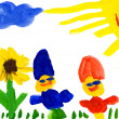 Child's drawing. child on flower meadow — Stock Photo