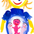 Stock Photo: Child's drawing. pregnant woman
