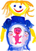 Child's drawing. pregnant woman — Stock Photo