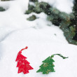 Christmas tree toy in snowfall — Stock Photo #31581157