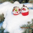 Stock Photo: Christmas toy cakes on winter tree with snowfall