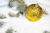 Christmas ball on winter tree with snowfall — Stock Photo