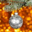Stock Photo: Christmas ball on fir branch