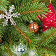Christmas decoration on fir branches — Stock Photo