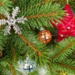 Christmas decoration on fir branches — Foto Stock