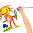 Child draws mother watercolors — Stock Photo