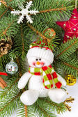 Christmas decoration with snowman — Stock Photo